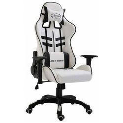 Biało-czarny fotel dla gracza z poduszkami - Kento