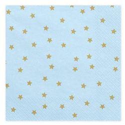 Serwetki urodzinowe niebieskie w złote gwiazdki - 33 cm - 20 szt.