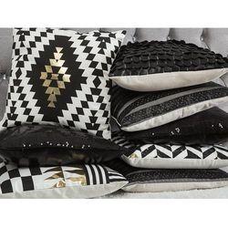 Poduszka dekoracyjna w romby bawełniana czarna/złota 45 x 45 cm