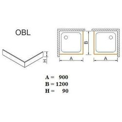 SANPLAST obudowa do brodzików Space Mineral do zabudowy narożnej OBL 90x120x9 625-400-1550-01-000