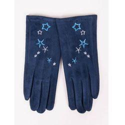 Rękawiczki dziewczęce zamszowe granatowe haft w gwiazdki 21