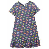 Sukienki dziecięce, Sukienka dziewczęca z dżerseju z falbanami bonprix niebieski indygo z nadrukiem