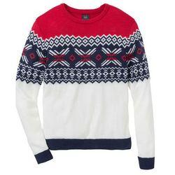 Sweter w norweski wzór Regular Fit bonprix biel wełny - czerwono-ciemnoniebieski