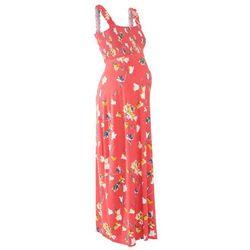 Długa sukienka shirtowa ciążowa bonprix koralowy z nadrukiem