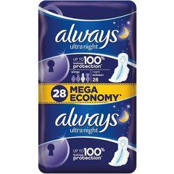 Always Ultra Night Podpaski higieniczne ze skrzydełkami 28 sztuk
