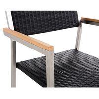 Zestawy ogrodowe, Beliani Zestaw ogrodowy szklany blat 180 cm 6 osobowy rattanowe krzesła GROSS