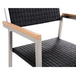 Beliani Zestaw ogrodowy szklany blat 180 cm 6 osobowy rattanowe krzesła GROSS