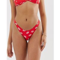 Stroje kąpielowe, Amuse Society Amor high leg bikini bottom in cherry - Multi
