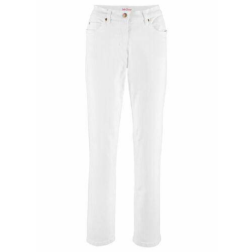Spodnie damskie, Dżinsy ze stretchem STRAIGHT, bestsellery bonprix biały