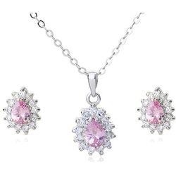 KPL 599/569 komplet kolczyki i wisiorek z różowymi łezkami plus łańcuszek, srebrny