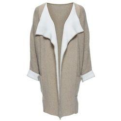 Płaszcz z domieszką wełny bonprix beżowo-biały