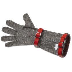 Rękawica metalowa z czerwonymi paskami, długa, rozmiar M | GIESSER, 9590 15
