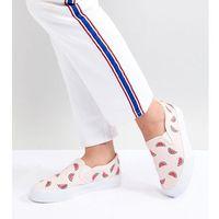 Damskie obuwie sportowe, ASOS DESIGN Viola Wide Fit Embroidered Plimsolls - Multi