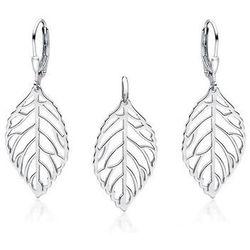 Rodowany wiszący srebrny komplet ażurowe liście listki ażur srebro 925 Z1689Z