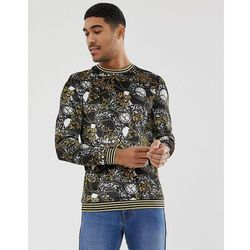 ASOS DESIGN muscle velour sweatshirt in baroque print with glitter tipping - Black