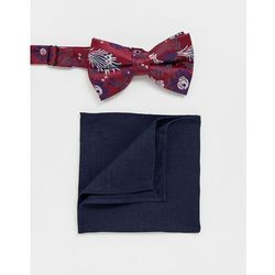 ASOS DESIGN burgundy floral bowtie & navy pocket square - Multi