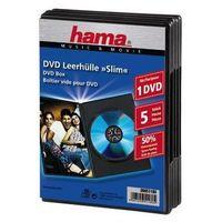 Pudełka i portfele na płyty, Opakowanie na cd/dvd HAMA Pudełka na płyty DVD Slim Box 5szt Czarne