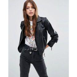 ASOS Ultimate Leather Biker Jacket with Quilt Hem Detail - Black