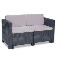 Dwuosobowa technorattanowa sofa Colorado antracyt
