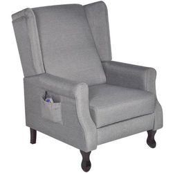 vidaXL Fotel masujący, elektryczny, regulowany, materiałowy, szary Darmowa wysyłka i zwroty