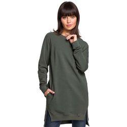 Zielona Długa Nierozpinana Bluza z Rozporkami