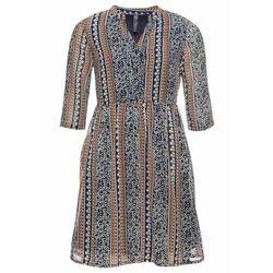 Sukienka szmizjerka bonprix ciemnoniebiesko-brązowy w kwiaty