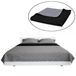 vidaXL Dwustronna pikowana narzuta na łóżko Czarna/Szara 170 x 210 cm Darmowa wysyłka i zwroty