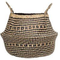 Koszyki, Duży kosz z trawy morskiej, naturalny, czarny - Bloomingville