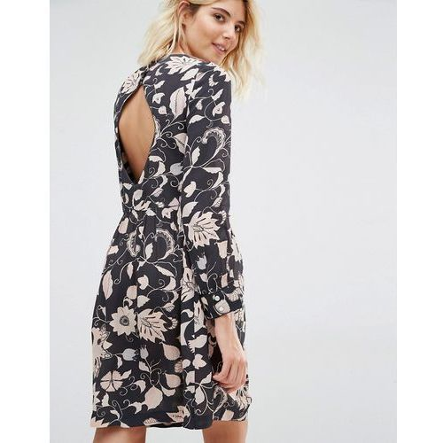 Suknie i sukienki, Gat Rimon Moco Open Back Long Sleeve Flower Print Dress - Black