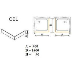SANPLAST obudowa do brodzików Space Mineral do zabudowy narożnej OBL 90x140x9 625-400-1570-01-000