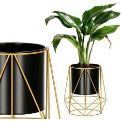 Stojak na kwiaty 26,5 cm z doniczką nowoczesny kwietnik loft czarno-złoty mat