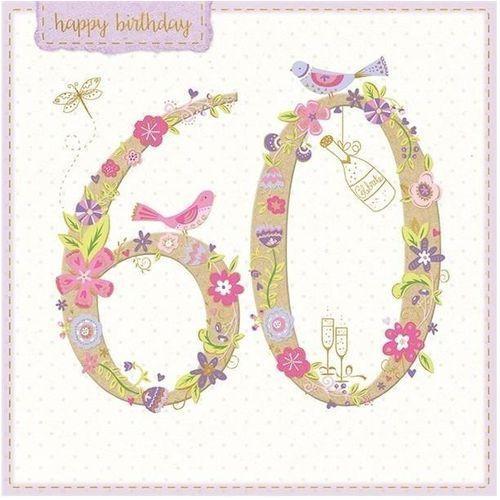 Pozostałe artykuły szkolne, Karnet kwadrat z kopertą Urodziny 60