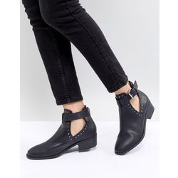 ASOS DESIGN Ace Studded Cut Out Ankle Boots - Black