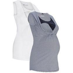 Top ciążowy i do karmienia piersią (2 szt.) bonprix ciemnoniebiesko-biały w paski + biały