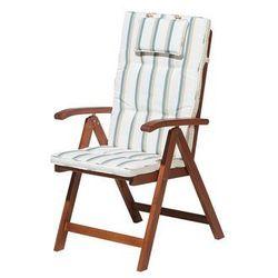 Krzesło ogrodowe drewniane poducha beżowo-zieolone paski TOSCANA