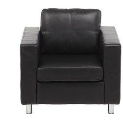 Fotel z materiału skóropodobnego ACKLEY- Czarny