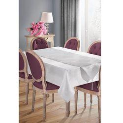 Elegancki obrus plamoodporny SUE-1 z szarfą 160x300 EUROFIRANY biały/srebrny