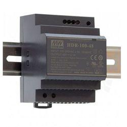 Zasilacz stałonapięciowy Mean Well HDR-100-12 na szynę DIN, Uwe: regulowane przełącznikiem, Uwy: 12V, moc 100W