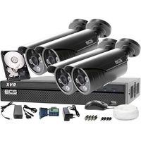 Zestawy monitoringowe, Zestaw do monitoringu z podglądem nocnym: Rejestrator BCS-XVR0401 + 4x BCS-TQE3500IR3-G + Dysk 1TB + Akcesoria
