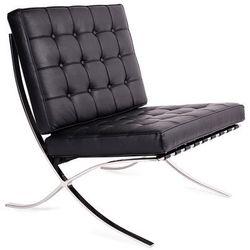 Fotel BARCELON PRESTIGE PLUS czarny - 100% skóra naturalna, włoska selekcjonowana, podstawa chrom