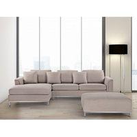 Narożniki, Sofa beżowa - sofa narożna P - tapicerowana - sofa z pufą - OSLO