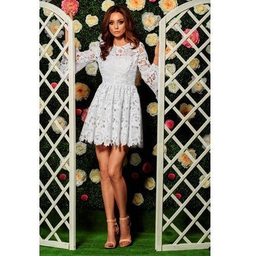 Suknie i sukienki, Romantyczna sukienka z koronki L262 ekri