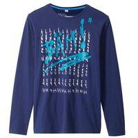 Koszulki z krótkim rękawkiem dziecięce, Shirt chłopięcy z długim rękawem i nadrukiem bonprix ciemnoniebieski z nadrukiem