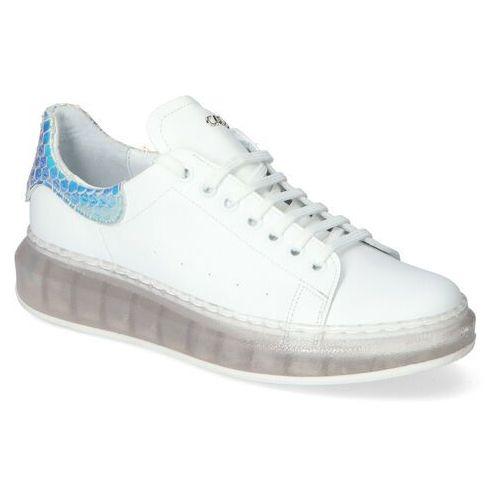 Damskie obuwie sportowe, Sneakersy Carinii B5118/T-L46-P29 Białe+niebieskie Lico