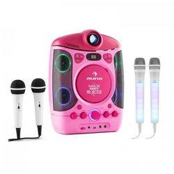 Auna Kara Projectura zestaw do karaoke różowy + Kara Dazzl zestaw mikrofonów LED