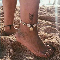 Bransoletka na nogę na kostkę sznurek muszelki - wiązana