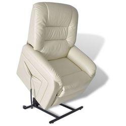 vidaXL Fotel roskładany, regulowany, ze skóry syntetycznej, beżowy Darmowa wysyłka i zwroty