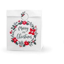 Torebka prezentowa Merry Little Christmas, biała - 3 szt.
