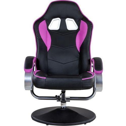 Fotele dla graczy, CZARNO RÓŻOWY FOTEL WYPOCZYNKOWY OBROTOWY DLA GRACZA PRZED TV - Czarno - różowy 40040335 (-31%)