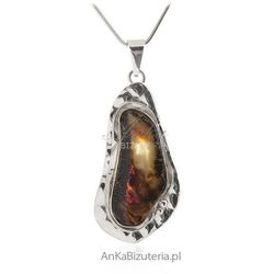Zawieszka srebrna z naturalnym bursztynem Piękna unikalna biżuteria